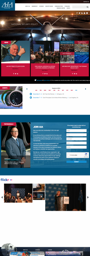 AIA Website Home Page Design